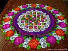 Very easy and stunning rangoli design Rangoli Ideas, Kolam Rangoli, Simple Rangoli, Colorful Rangoli Designs, Beautiful Rangoli Designs, Diwali Decorations, Flower Decorations, Poster Rangoli, Pooja Mandir