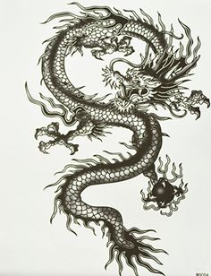 "GGSELL GGSELL hot selling extra large new design big size 7.87 x 8.66"" Inches waterproof black dragon temporary tattoo sticker for men"