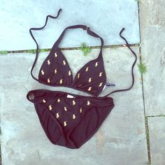 Ralph Lauren Bikini Ralph Lauren Bikini, top & bottom size M, black w/gold RL Polo symbol, gently used Ralph Lauren Swim Bikinis