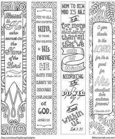 4 Printable Coloring Bible Journaling Margin Strips, Praise Bible verses, for Wide Bible Margins or Planner Sticker Decoration, or Bookmarks
