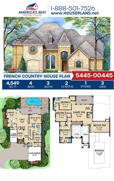 Designed with dramatic French Country appeal, Plan 5445-00445 delivers 4,549 sq. ft., 4 bedrooms, 3+ bathrooms, an open floor plan, a bonus room, a media room, and a study. #frenchcountry #architecture #houseplans #housedesign #homedesign #homedesigns #architecturalplans #newconstruction #floorplans #dreamhome #dreamhouseplans #abhouseplans #besthouseplans #newhome #newhouse #homesweethome #buildingahome #buildahome #residentialplans #residentialhome Best House Plans, Dream House Plans, Building Plans, Building A House, Floor Plan Drawing, French Country House Plans, Open Layout, House Blueprints, French Countryside