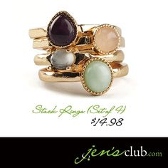 Stack Rings (Set of 4) From Regal      Each ring features a different natural stone in gold-tone setting. Stack together or wear separately for two totally different looks.   Product Number - JC10087 (size 7)  Product Number - JC10088 (size 8)  Product Number - JC10089 (size 9)