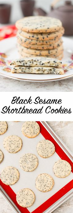 Rich and buttery shortbread with toasted black sesame seeds make these cookies absolutely sensational!