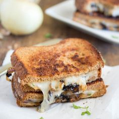 All of the flavors of French Onion soup you love stuffed into a grilled cheese sandwich.