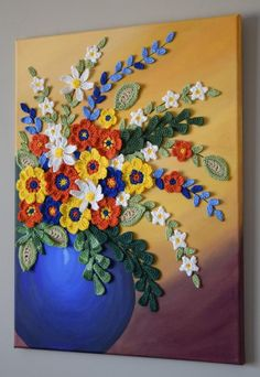 Mixed media artwork on canvas flower pot painting, wall decor yellow green orange and white crochet flower on blue vase by Anuja Flower Vases, Flower Pots, Flower Wall, Flower Canvas, Acrylic Painting Canvas, Canvas Art, Acrylic Artwork, Blue Canvas, Painting Tips