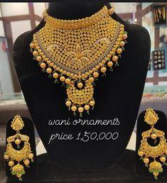 Indian Jewelry Sets, Solid Gold Jewelry, Gold Jewellery Design, Eid Mubarak, Gold Style, Necklace Designs, Designer Wear, Pink Dress, Wedding Jewelry