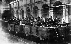 24 May 1862: Chancellor of the Exchequer, William Ewart Gladstone, and directors and engineers of the Metropolitan Railway Company, embark on an inspection tour of the world's first underground line. Built between Paddington and the City of London, it opened in January of the following year. Gladstone is seen in the front row, near right.  Picture: Hulton Archive/Getty Images