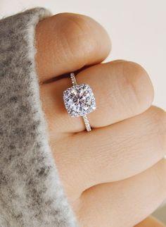 Thin pave hand. Round diamond. Cushion halo. Perfect. #weddingring