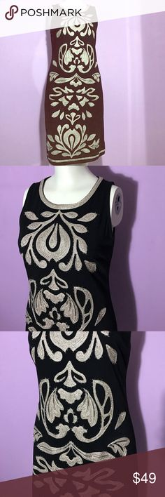 INC International black & gold embroidered dress In excellent condition. Gold embroidery with small beading and rhinestones. Stretchy material for the perfect fit. Fully lined. INC International Concepts Dresses
