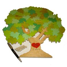 Wedding Puzzle Guest Book Tree  - Custom Hand Painted - 75 Pieces. $250.00, via Etsy.