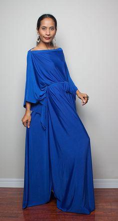 Royal Blue Maxi Dress Long Wide Sleeve Black Dress by Nuichan