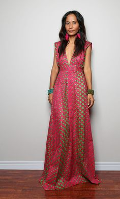 Maxi Dress Funky Polka Dot Dress Oriental Secrets by Nuichan, $59.00