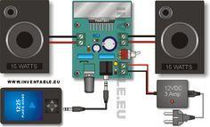 Amplificador ultracompacto de 15W + 15W   Inventable