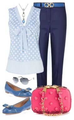 """""""Blue, White & Pink"""" by oribeauty-cosmeticos ❤ liked on Polyvore featuring beauty, Paul Smith Black Label, Moschino, Salvatore Ferragamo, Judith Jack and Kate Spade"""
