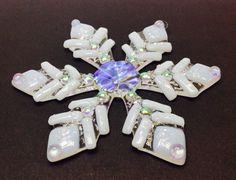 Fused Glass Christmas Ornament (White Snowflake)
