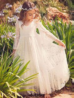 3266cd410 Boho Flower Girl Dress White Lace Flare Sleeve Sash A Line V Neck Ankle  Length Junior Bridesmaid Dress. Ivory Flower Girl DressesLace Flower  GirlsLittle ...