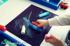 Sidewalk Chalk in the Winter - Indoor Toddler Activity