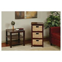 Seabrook Three-Tier Storage Unit With Espresso Finish and Natural Baskets - Office Star : Target