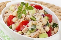 Tuna and White Bean Salad - canned beans (chickpea, pinto or cannellini depending on Phase), tuna, red onion, basil, garlic, olive oil, lemon, salt, black pepper