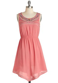 Festival of Friends Dress. While you love taking road trips toward great music, you have just as much fun dancing in your yard in this boho-inspired dress. #pink #modcloth