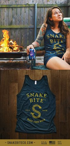 The Snake Bite Ladies Tank Top - 100% printed and made in the usa.  Cutest summer and festival season gear!
