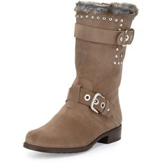 Stuart Weitzman Furtrot Studded Suede Bootie ($251) ❤ liked on Polyvore featuring shoes, boots, ankle booties, adobe, mid-calf boots, high heel boots, stuart weitzman boots, studded booties and mid calf high heel boots