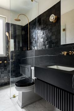 Black and white bathroom. Marble floor tile. Black floating vanity. #blackandbrass #parisiandesign #bathroomdesign #blackandwhite Black Toilet, One Bedroom, Apartment, White Bathroom, Parisian Bistro, Black Bathroom, Bathroom Inspiration, Parisian Apartment, Upper West Side Apartment