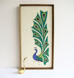 1960s Peacock Gravel Art Kitsch Mosette Art by AboutThePlace