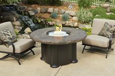 Outdoor Fire Pit - Outdoor GreatRoom Marbleized Noche Colonial Fire Table Chat Base