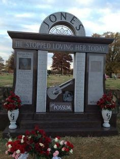 Grave Marker- George Jones, American country musician. (2 of 3) He is buried in the Woodlawn Memorial Park and Mausoleum in Nashville, Tennessee. (Final Marker) http://www.thefuneralsource.org/deathiversary/april/26.html