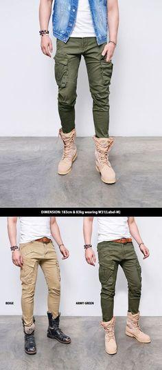 Bottoms :: Pants :: Last 1) Slim Fit Vintage Cotton Cargo Biker-Pants 221 - GUYLOOK Men's Trendy Fashion Clothing Online