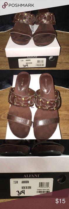 Alfani clog sandal Sz 7.5M Dark Brown Alfani Slip on Clog open toed Sandal.... Color-New Dk Brn... Style- Annibrn... Sz -7.5M ....sandals have never been worn and kept stored in original box. Alfani Shoes Sandals