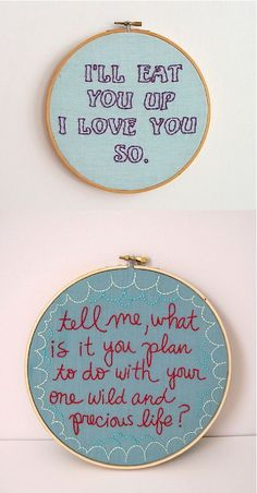 love embroidered words