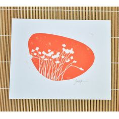 Botanical / plant wall art (DEEP ORANGE)    The linocut print is inspired by one of natures beautiful silhouettes. The minimalist design can fit into