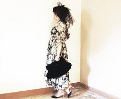 Birds and Fresia polka dot cantonier, Alice J velvet bag, chrisitan louboutin shoes and vintage dress.