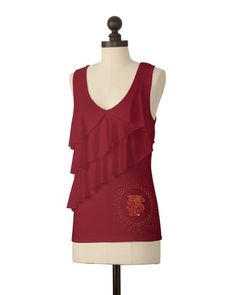 The Florida State University Asymmetric Ruffle Top in Garnet