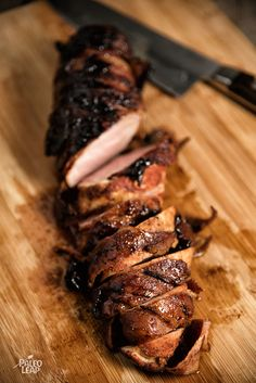 Who says lean pork has to be dry? Try this savory-sweet recipe for tenderloin wrapped in bacon and flavored with maple syrup and warm spices. Cooking Twine, Paleo Bacon, Paprika Pork, Smoked Paprika, Smoky Bacon, Unsweetened Applesauce, Pork Tenderloin Recipes, Bbq Grill, Grilling