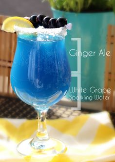 Blue Lagoon Mocktails: Individual packet of blue typhoon hawaiian punch, 1 part White Grape Sparkling water, 1 part ginger ale. Perfect mini bar idea
