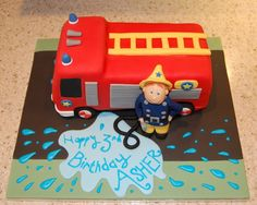 Fire engine cake - from above. Like the name in splash of water