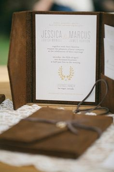 classy leather to suede brown wedding invitation switch book