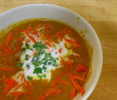 Carrot Ginger Soup with Coconut Cream garnish #Paleo #Glutenfree #Recipe