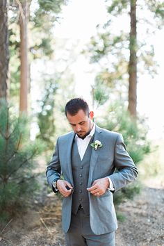 Lake Arrowhead Outdoor Wedding At Pine Rose Cabins Groom Grey Suit With Matching Vest And White