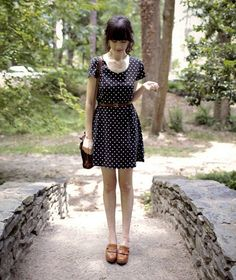 Polka dots and clogs (by Rhiannon Leifheit) http://lookbook.nu/look/843831-Polka-dots-and-clogs