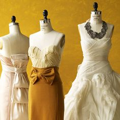 Romantic dresses perfect for a honey and wheat color palette.