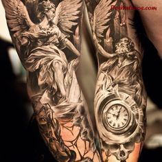 Angel Gabriel the messenger, full sleeve tattoo. A work of art