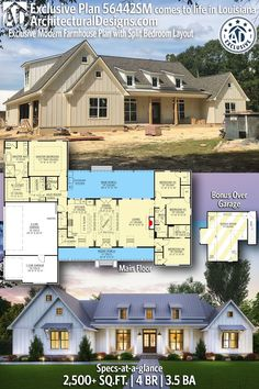 Architectural Designs Exclusive Home Plan comes to life in Louisiana! Architectural Designs Exclusive Home Plan comes to life in Louisiana! This home gives you 4 bedrooms, baths and sq. Ready when you are! Where do YOU want to build? 4 Bedroom House Plans, Family House Plans, Ranch House Plans, New House Plans, Dream House Plans, House Floor Plans, Ranch Floor Plans, Unique House Plans, Unique Floor Plans