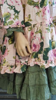 LES ARMOIRES D'HORTENSIA shades of pink and green floral cotton with darling ruffled edges. It's like a feminine forest look. Romantic Mori for the female Herbology student.