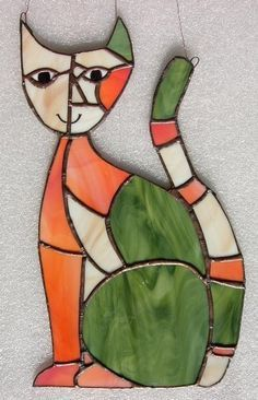 Handmade Stained Glass CAT - Delphi Stained Glass