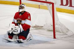 SUNRISE, FL - APRIL 3: Goaltender Roberto Luongo #1 of the Florida Panthers kneels in front of the net while waiting to hear if a goal was disallowed. The Florida Panthers beat the Nashville Predators 2-1 at the BB&T Center on April 3, 2018 in Sunrise, Florida. (Photo by Eliot J. Schechter/NHLI via Getty Images)