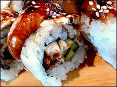 Dragon rolls and other sushi recipes at this website! I use these recipes often to make sushi platters for events. Highly recommended